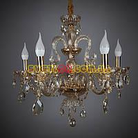 Большая хрустальная золотая люстра под свечи на ветру 8205/6