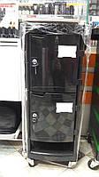 Тележка подставка на колесиках для салона с выдвижными полками и 2 отделами под ключ, цвет черный, фото 1