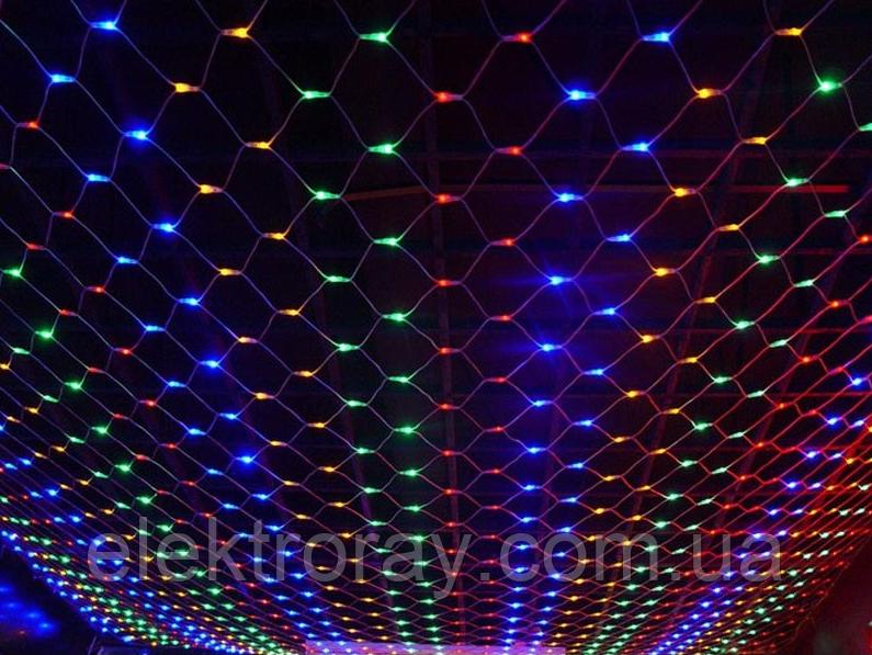 Светодиодная гирдянда сетка 120 LED микс, размер 1,5м х 1,5м