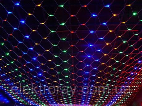 Светодиодная гирдянда сетка 120 LED микс, размер 1,5м х 1,5м, фото 2