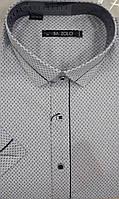 Приталенная белая молодежная тенниска BAZZOLO с узором-точкой (размеры M.L.XL.XXXL)