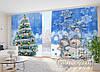 """Новогодние Фото Шторы в зал """"Голубая Ель и Снеговики"""""""