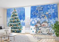 """Новогодние Фото Шторы в зал """"Голубая Ель и Снеговики"""", фото 1"""