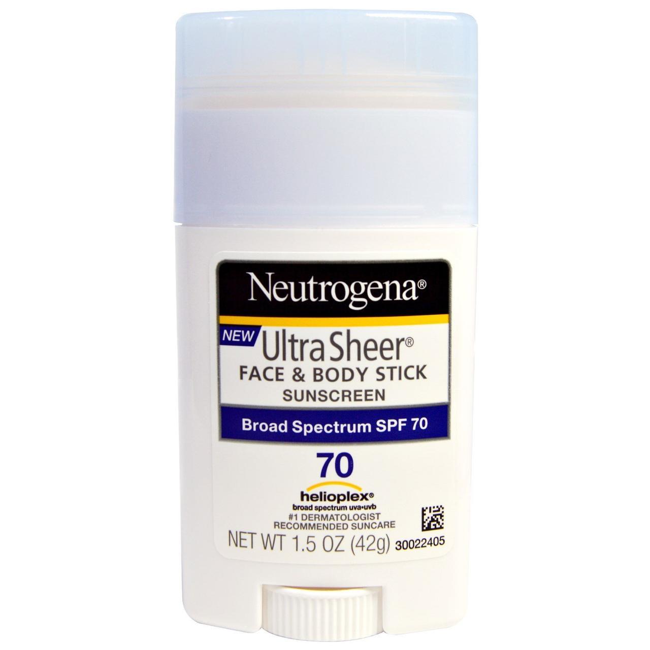 Neutrogena, Ультратонкий карандаш для лица и кожи – солнцезащитный крем, фактор защиты от солнца SPF 70, 1,5 унции (42 г)