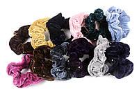 Велюровая резинка для волос 10 камней разные цвета, диаметр: 12 см, 12 штук в упаковке