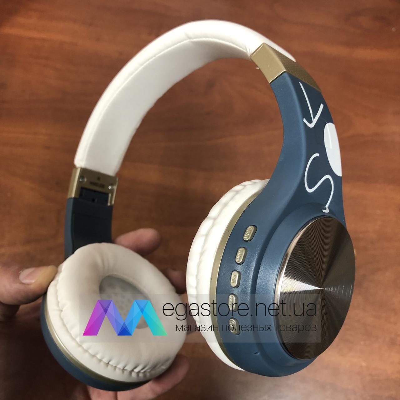 Беспроводные накладные Bluetooth наушники SY-BT1607 Wireless headphones блютуз синие