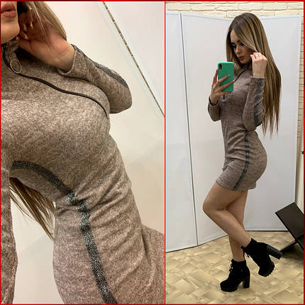 "Платье ""Zmeyka"" с лампасами / пудра, фото 2"