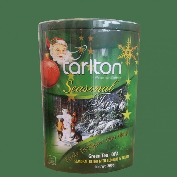 Чай в новогодней упаковке Тарлтон Снеговик зеленый с саусепом и гранатом 200 г в музыкальной банке