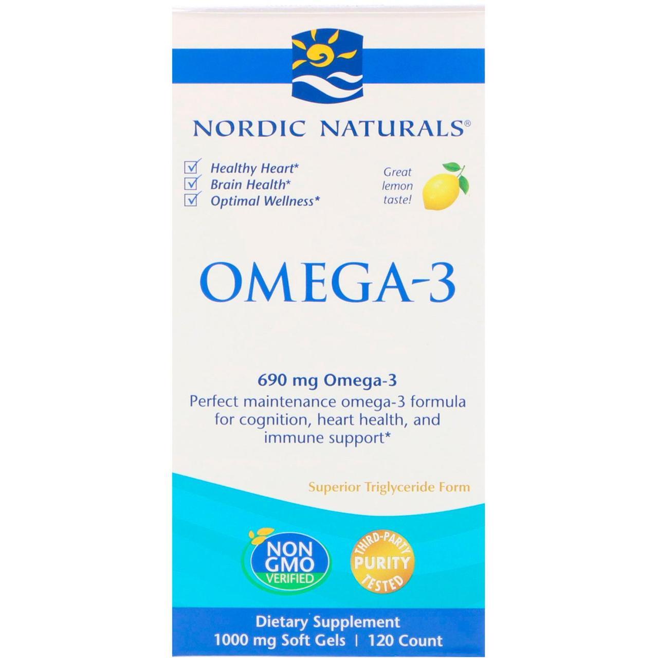 Очищенный рыбий жир, Nordic Naturals, лимон, 120 капсул