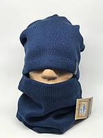 Комплект шарф снуд и шапка Apex Симон синий джинс