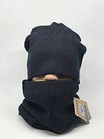 Комплект шарф снуд и шапка Apex Симон темно синий