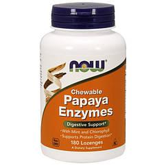 Ферменты энзимы Now Foods Chewable Papaya Enzyme (180 пастилок) нау фудс