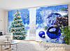 """Новогодние Фото Шторы в зал """"Елка на голубом фоне с голубыми игрушками"""" 2,7м*4,0м (2 полотна по 2,0м), тесьма"""