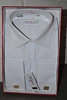 Белая мужская классическая рубашка под запонку FERRERO GIZZI (размеры 40,41)