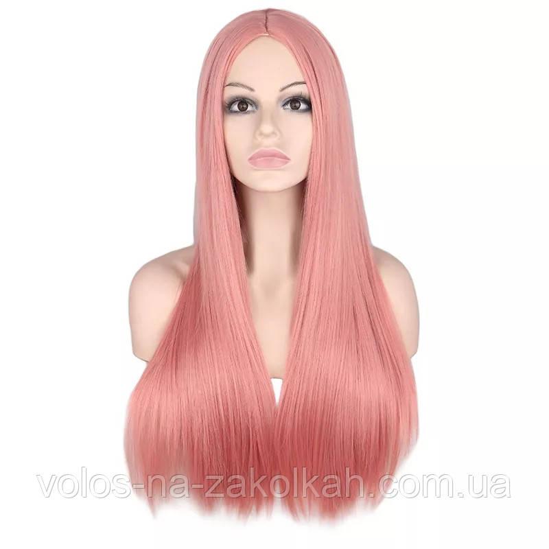 Парик розовый пудровый