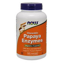 Ферменты энзимы Now Foods Chewable Papaya Enzyme (360 пастилок) нау фудс