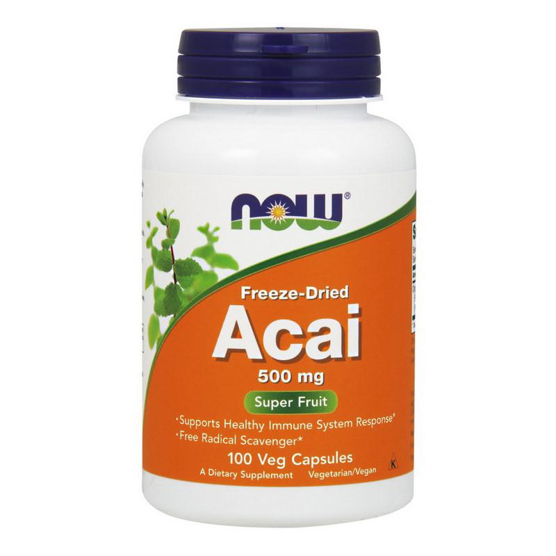 Ягоды асаи Now Foods Acai 500 mg Freeze-Dried (100 капс) нау фудс