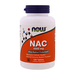 N-ацетилцистеин Now Foods NAC 1000 mg (120 таб) нау фудс
