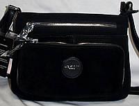 Женский черный клатч на плечо из натуральной замши на 3 отдела 27*19 см