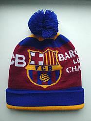 Шапка зимняя с бубоном Барселона