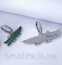 Серьги кольца асимметрия крупный белый крокодил, фото 2