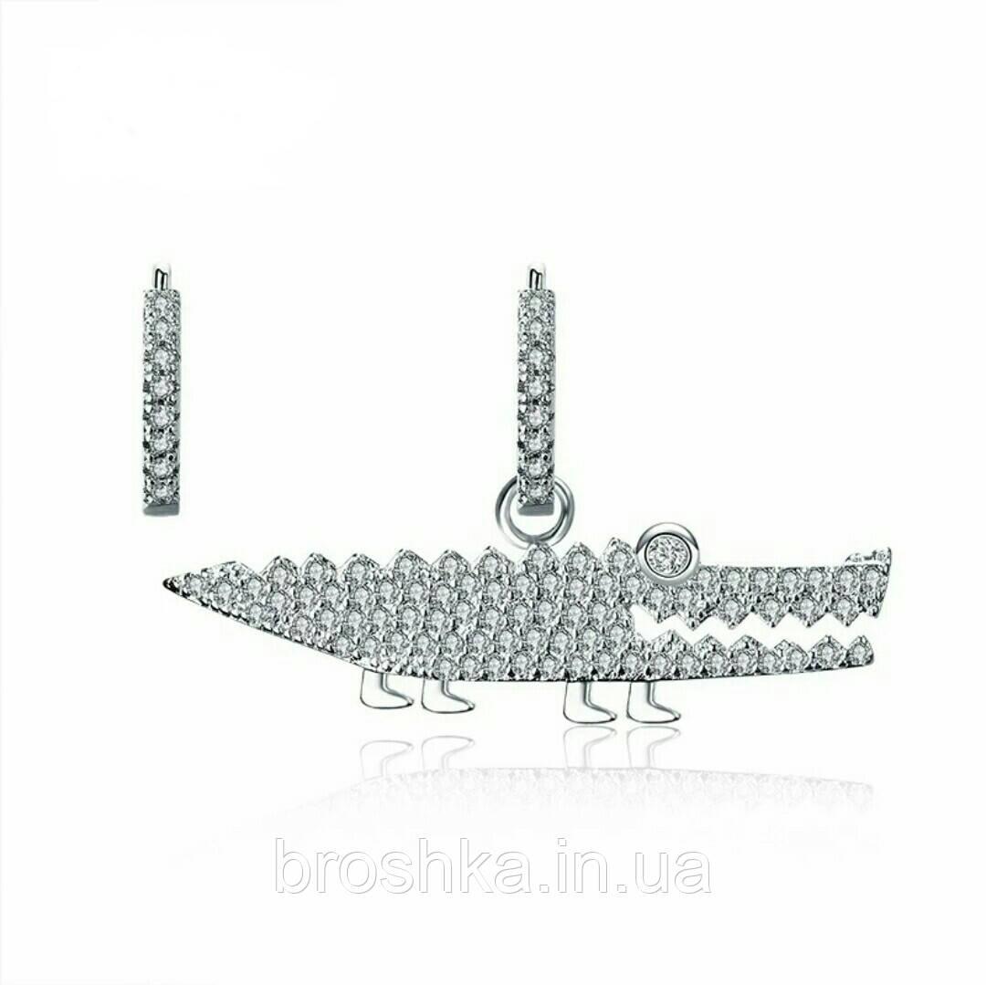 Серьги кольца асимметрия крупный белый крокодил