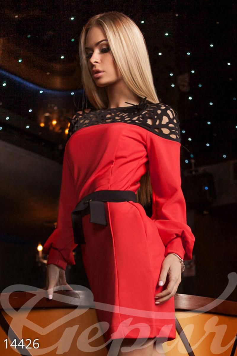 Платье с прозрачной кокеткой Gepur 14426