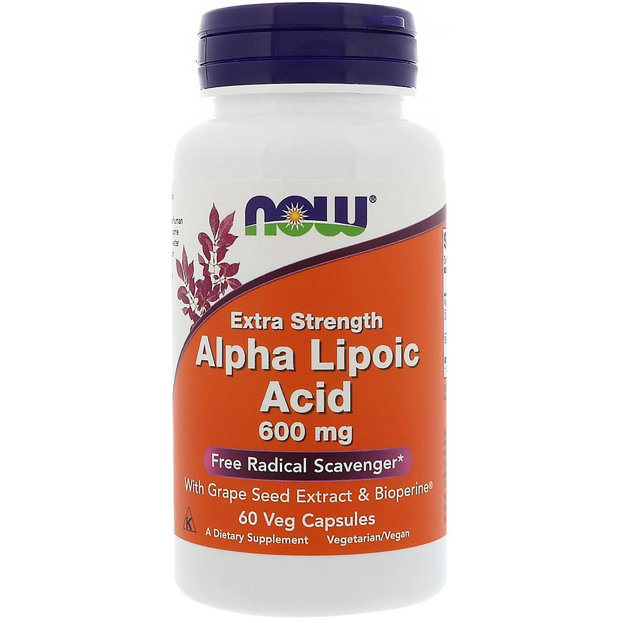 Альфа Липоевая Кислота, Now Foods, Alpha Lipoic Acid, 600 мг, 60 капсул