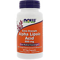 Альфа Липоевая Кислота, Now Foods, Alpha Lipoic Acid, 600 мг, 60 капсул, фото 1