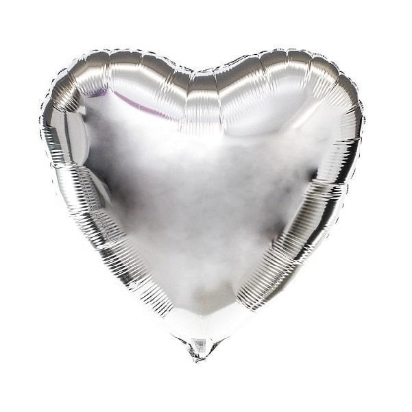 Фольгированный шар сердце серебро 43×48 см с гелием