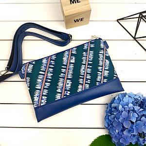 Синий стильный клатч с принтом Лодки