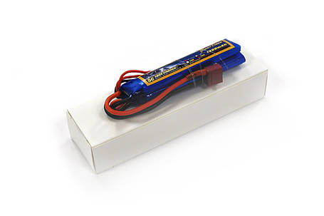 Акумулятор для страйкболу Giant Power Li-Pol 7.4 V 2S 1300mAh 25C 2 пелюстки 7.5х18х96мм T-Plug, фото 2