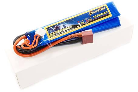 Акумулятор для страйкболу Giant Power Li-Pol 7.4 V 2S 1300mAh 25C 2 пелюстки 7.5х20х103мм T-Plug, фото 2