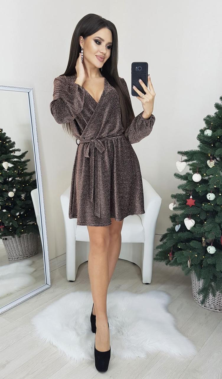 Праздничное платье из люрекса р. 42,44,46,48 Шоколад