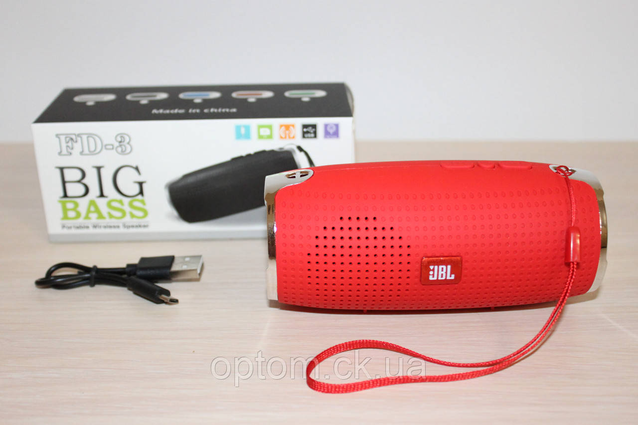 Колонка JBL FD-3 BigBass Bluetooth Red