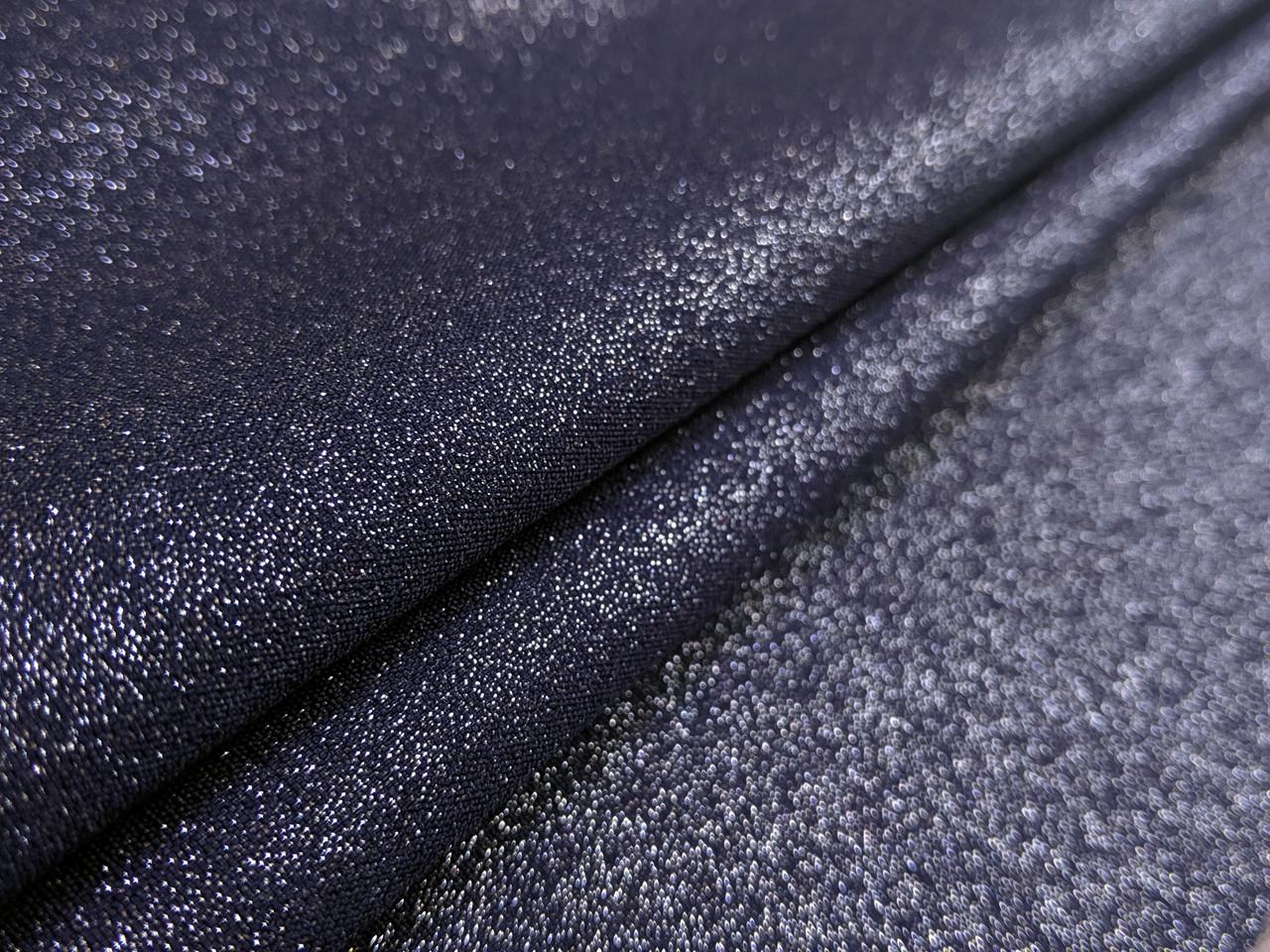 Ткань Бианка с напылением, темно-синий с серебром