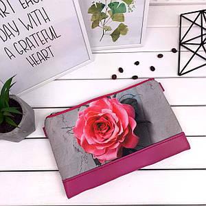 Женский розовый клатч с принтом Роза