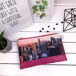 Стильный розовый женский клатч с рисунком Город