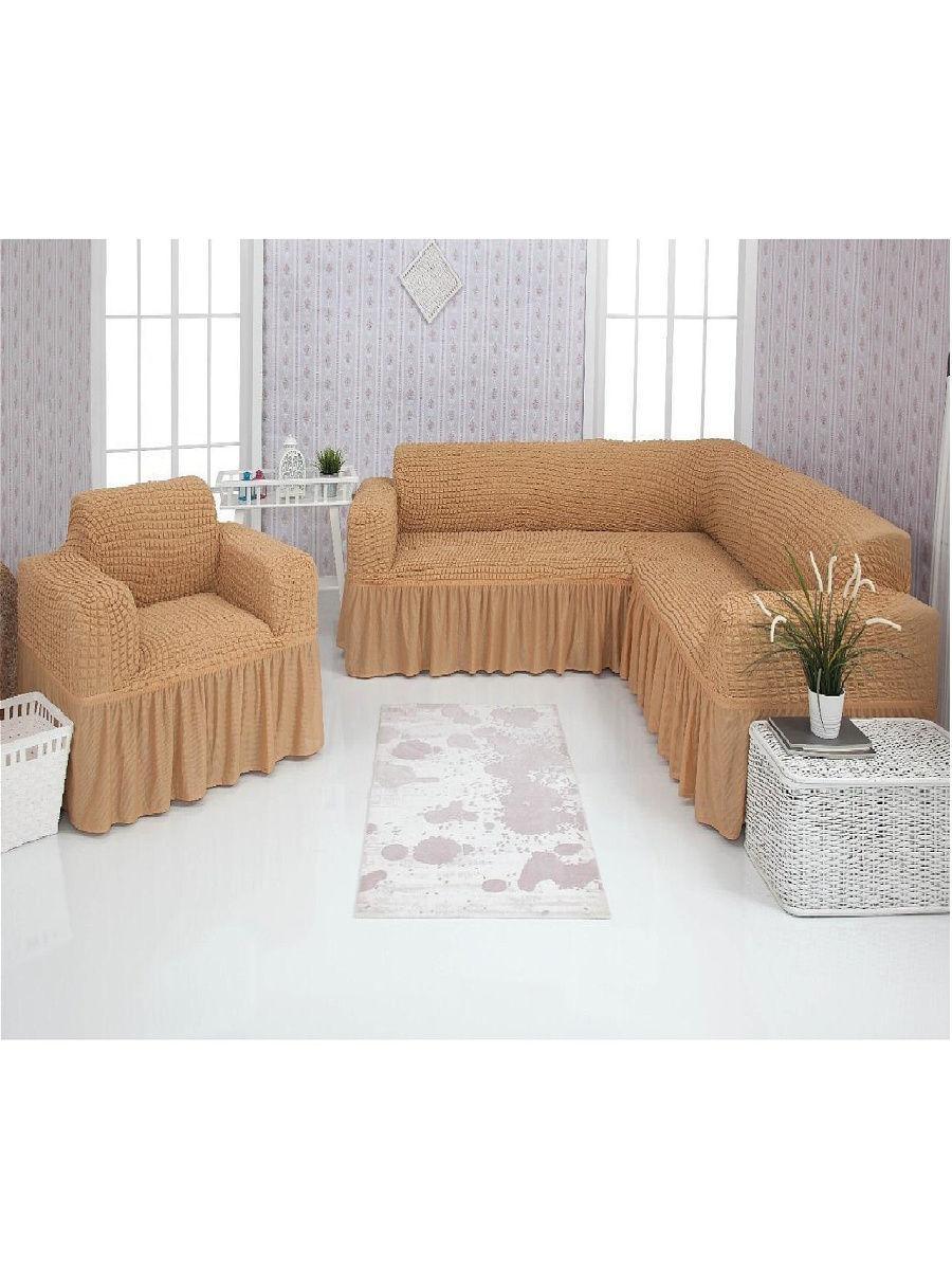 """Комплект чохлів на кутовий диван та крісло з воланами """"Venera"""""""