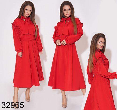 Модное женское платье миди с длинным рукавом 42, 44, 46