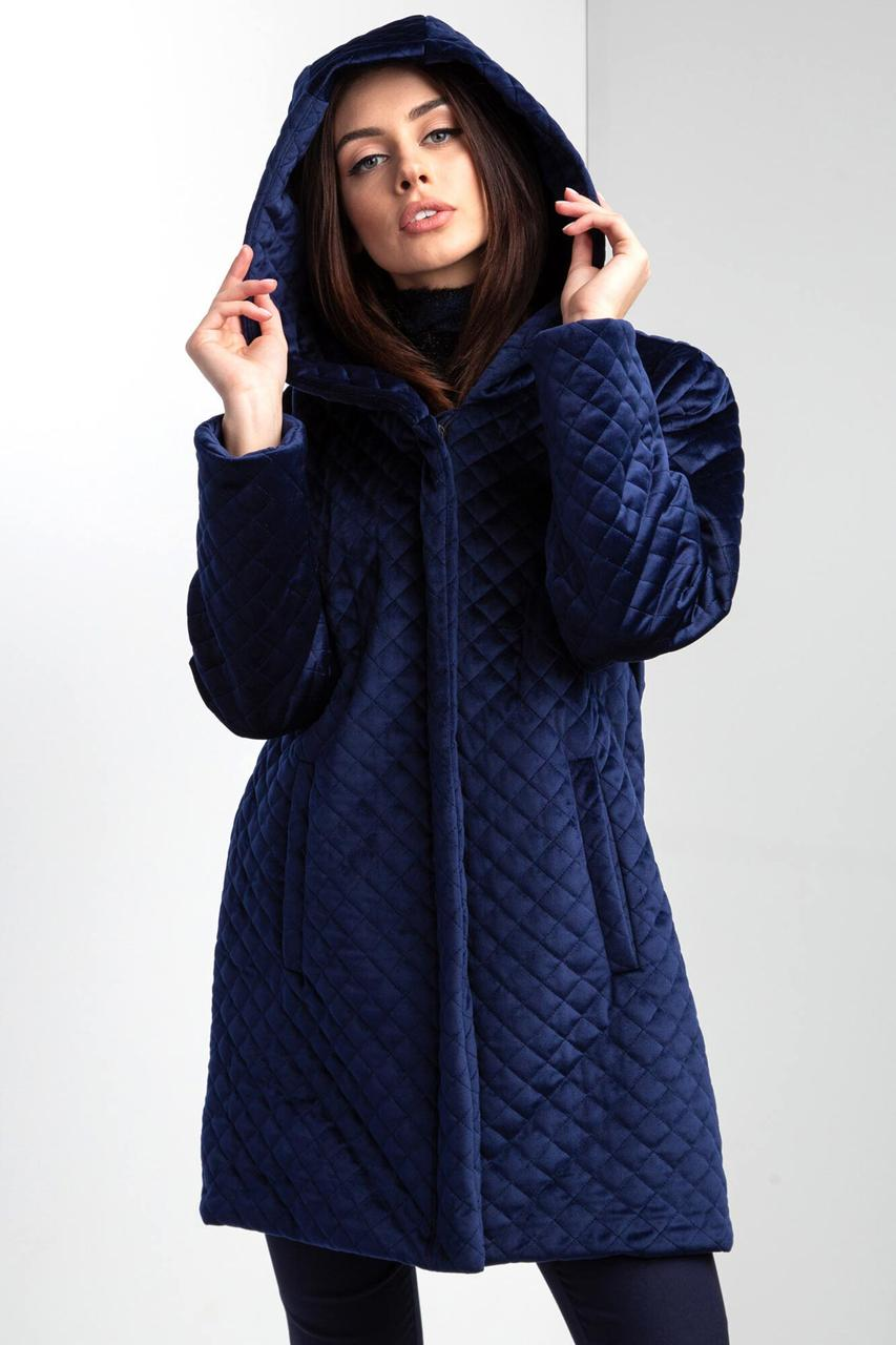 Стеганая куртка HOOD из синего велюра с капюшоном