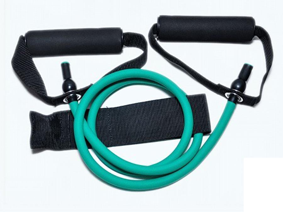Эспандер для фитнеса с ручками зелёный. 146 см: 5,4 кг. WX-22