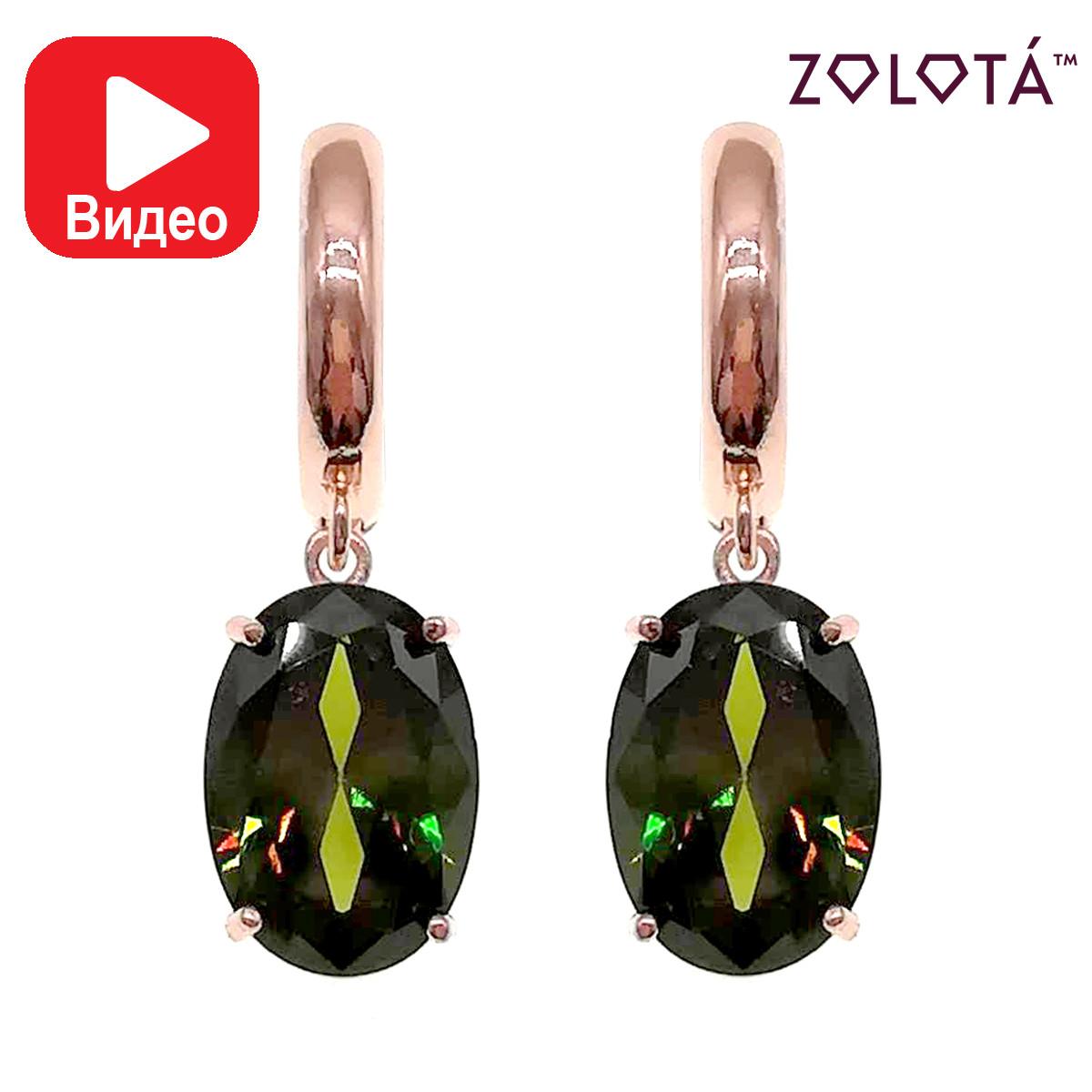 Серьги Zolota, оливковые фианиты (куб. цирконий), медицинское золото, позолота PO, ЗЛ00783 (1)