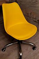 Стул Milan Office желтый на колесиках с регулировкой высоты, дизайн Charles Eames в стиле лофт, фото 1
