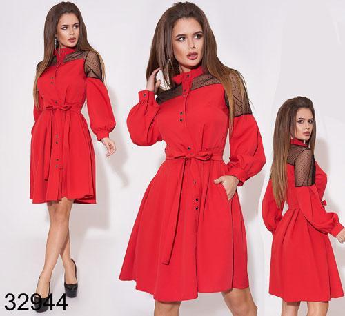 Стильное женское платье украшено сеткой с поясом 42, 44, 46, 48