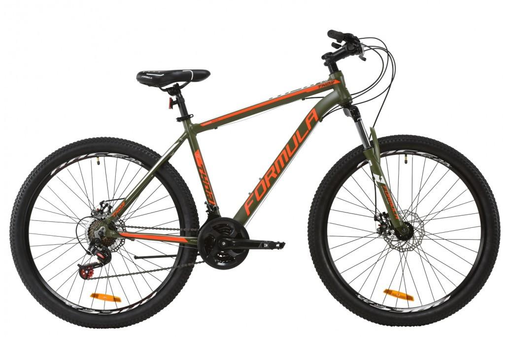 """Велосипед горный мужской 27.5"""" Formula Thor 2.0 DD 2020 алюминиевая рама 19"""" хаки с красным и белым"""