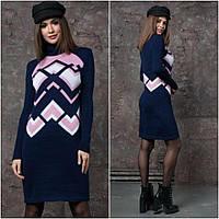 Модное теплое платье под горло р 44-50 синий, фото 1