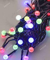 Гирлянда ЖЕМЧУГ 50 LED, черный провод,5 м+переходник, мульти цвет