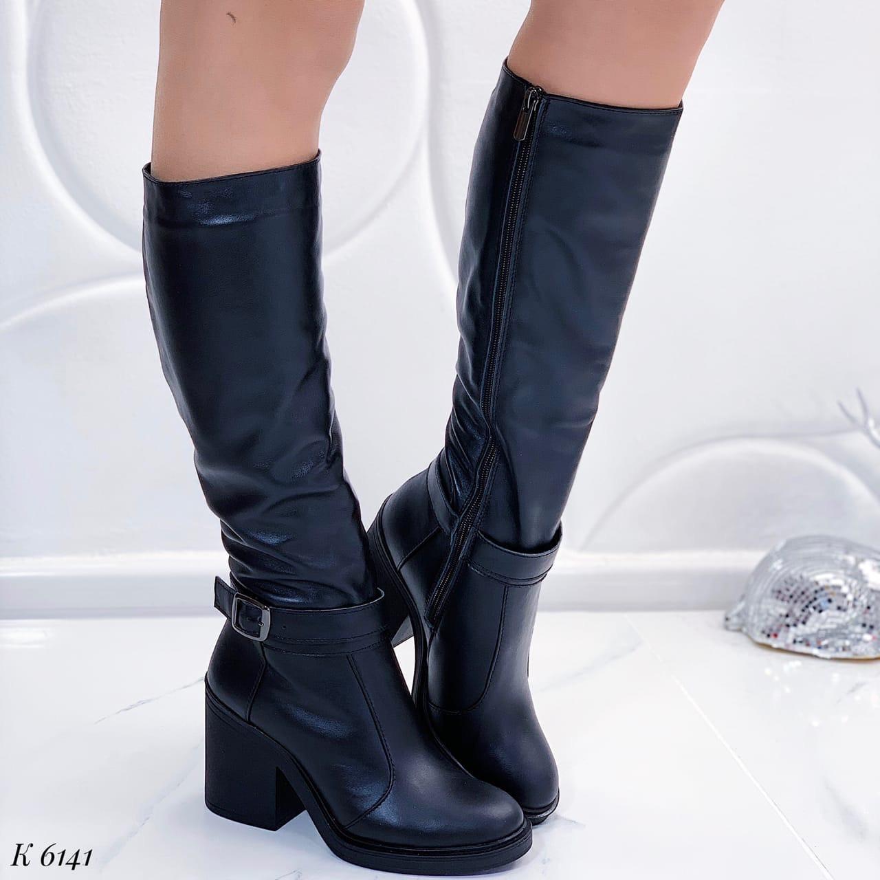 Женские сапоги черные евро ЗИМА на каблуке 9,5 см натуральная кожа