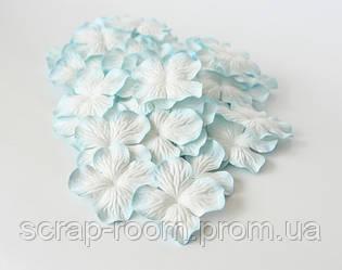 Гортензии большие бело-голубые, гортензии голубо-белые 5 см, бумажная гортензия 5 см, цветы гортензия